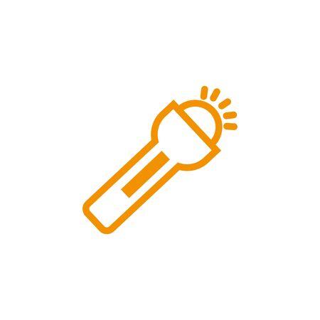 flashlight bulb energy electricity light yellow line style vector illustration