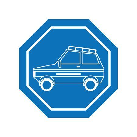 Car inside road sign icon design, Automobile auto transportation vehicle drive travel traffic theme Vector illustration
