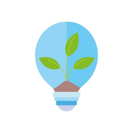 ecology renewable environment light bulb energy plant icon vector illustration