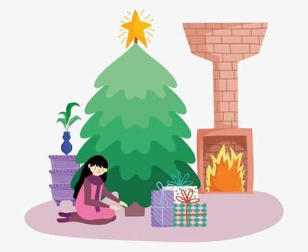 woman with tree chimney gifts merry christmas, happy new year vector illustration