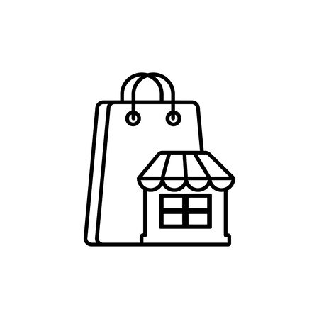 market paper bag commerce shopping line image icon illustration