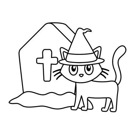 cat hat gravestone trick or treat happy halloween vector illustration line image