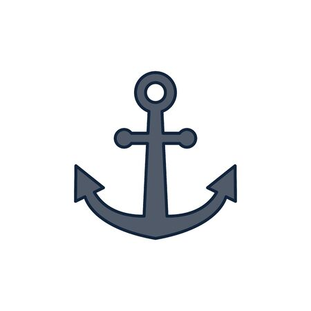 nautical anchor summer icon line and fill illustration