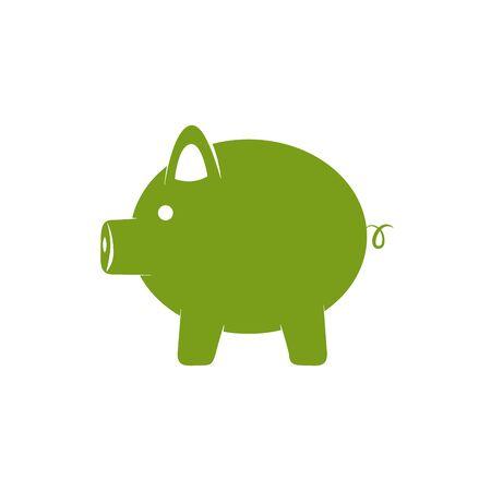 Isolated piggy icon green silhouette design