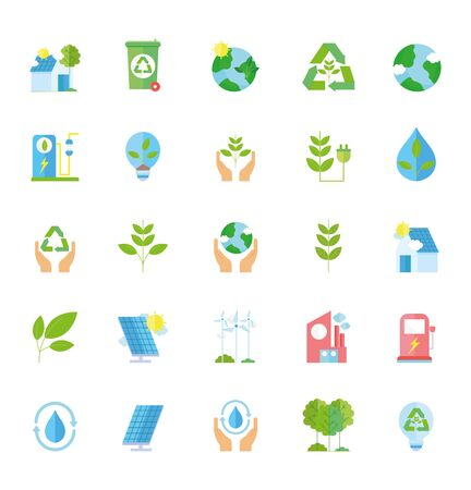 ecology renewable environment recycle icons collection Stock Illustratie