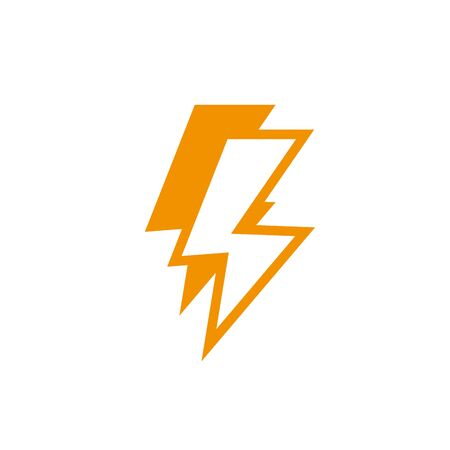 thunderbolt power energy light yellow line style vector illustration