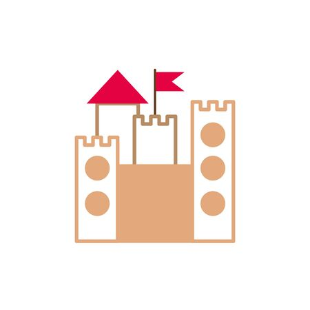 castle with flag fantasy line fill style