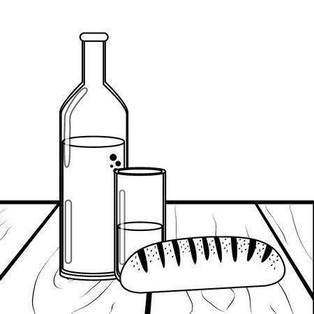 Isolated bread and bottle design Illusztráció