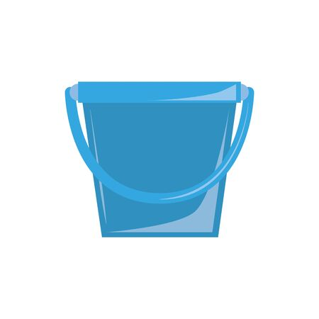 clean bucket plastic flat icon blue