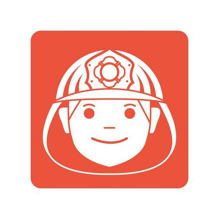 firefighter head with helmet block line style icon