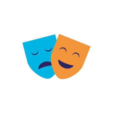 Isolated theatre masks flat design