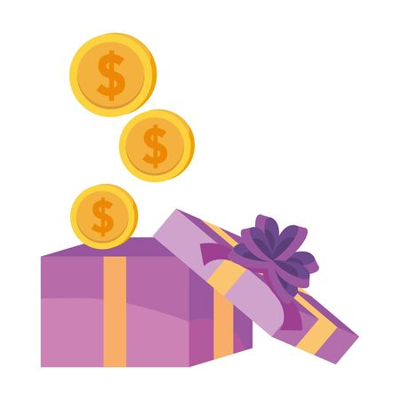 Gift and coins icon design vector illustration