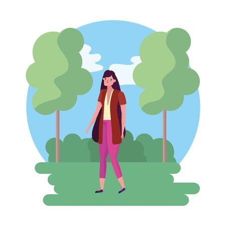 Isolated avatar woman in park vector design Illusztráció