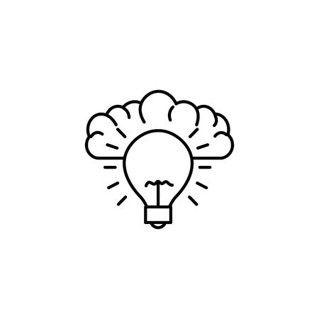 human brain bulb invention idea icon line style