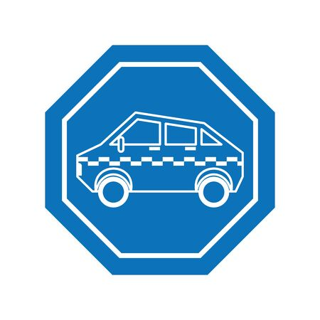 taxi car inside road sign icon block line design