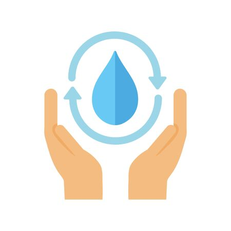 ecology renewable environment hands water drop icon