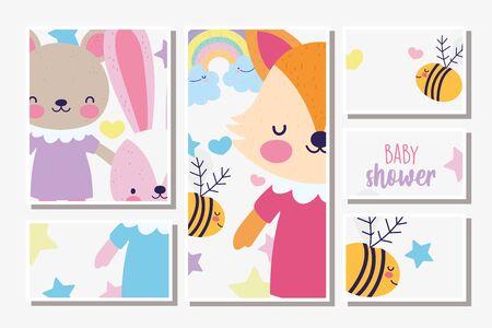 cute female fox rabbit and bear baby shower card Stock Illustratie