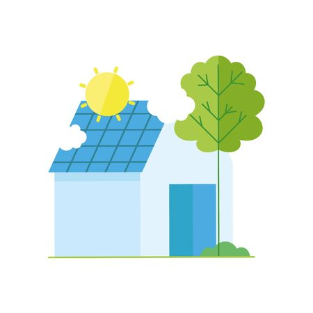 ecology renewable environment house solar panel icon