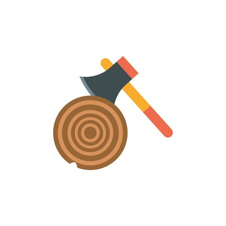 Isolated camping axe icon flat design