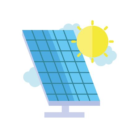 ecology renewable environment solar panel sun clouds icon