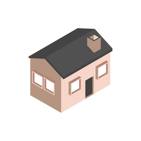 house with chimney building isometric style