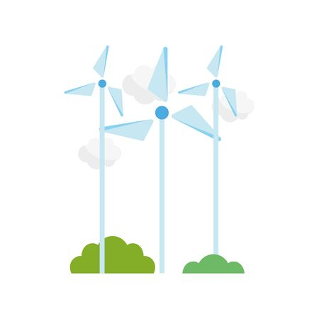 ecology renewable environment wind turbine clouds icon