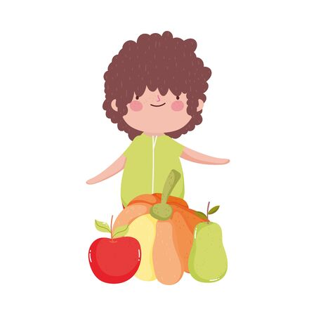 happy thanksgiving day cute little boy with pumpkin apple pear