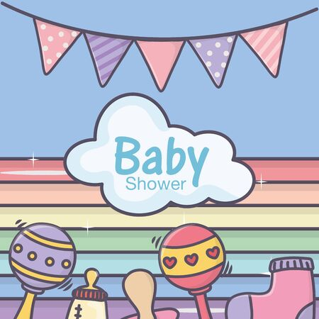 baby shower pacifier feeding bottle rattle sock rainbow bunting vector illustration