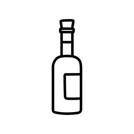 wine bottle beverage celebration on white background thick line