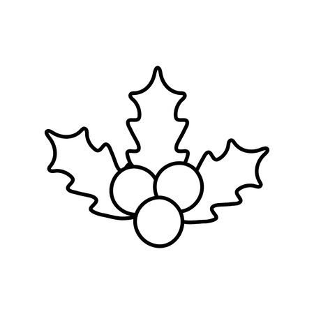 holly berry leaves chirstmas decoration icon thick line