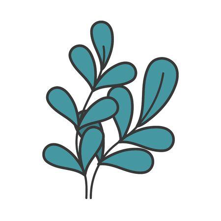 green leaves foliage botanical icon Ilustração