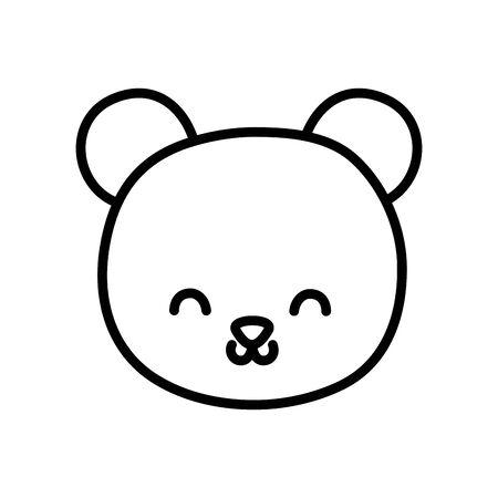 cute bear head cartoon icon thick line Stock Illustratie