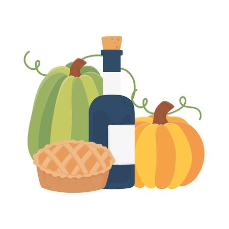 happy thanksgiving day cake pumpkins and wine bottle