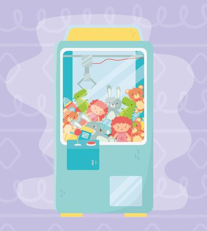 claw machine with joystick controller toys vector illustration