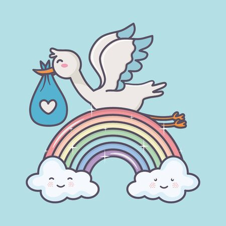 baby shower stork diaper blue rainbow clouds