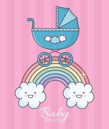 baby shower blue pram rainbow clouds stripes background