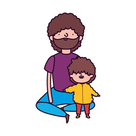 dad and little son sitting characters on white background vector illustration