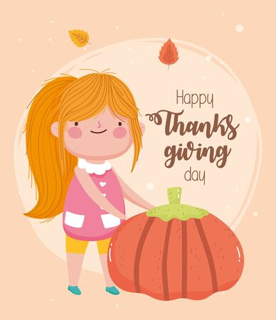 happy thanksgiving day cute girl with big pumpkin leaves Çizim