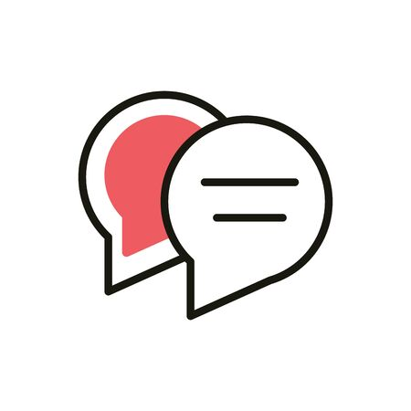 speech bubbles message social media icon line and fill