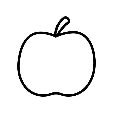fresh fruit apple on white background thick line Ilustração Vetorial