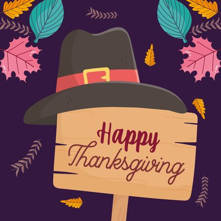happy thanksgiving day wooden sign pilgrim hat fall foliage