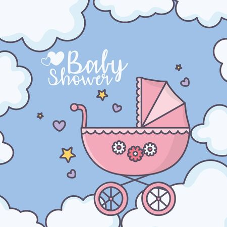 baby shower cute pink pram clouds stars hearts