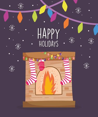 merry christmas celebration chimney socks mitten lights snowflakes