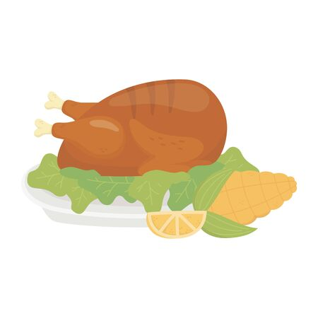 happy thanksgiving day baked turkey corn and lemon Illustration