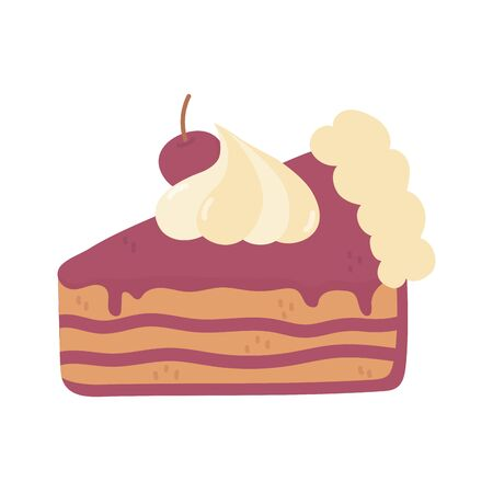 slice cake with cherry cream on white background vector illustration