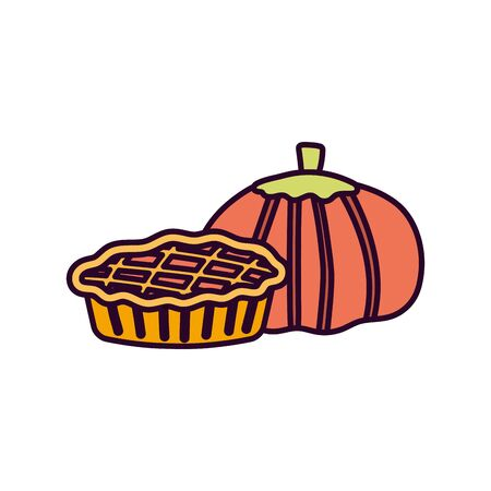 pumpkin and sweet cake on white background vector illustration