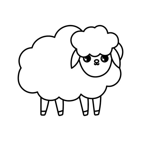 sheep farm animal cartoon icon vector illustration thick line