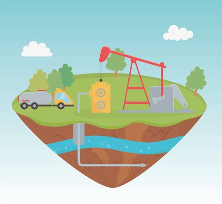 pump truck production process exploration fracking vector illustration
