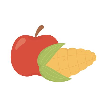 apple and corn cob food design on white background vector illustration