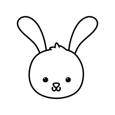cute rabbit head cartoon icon thick line
